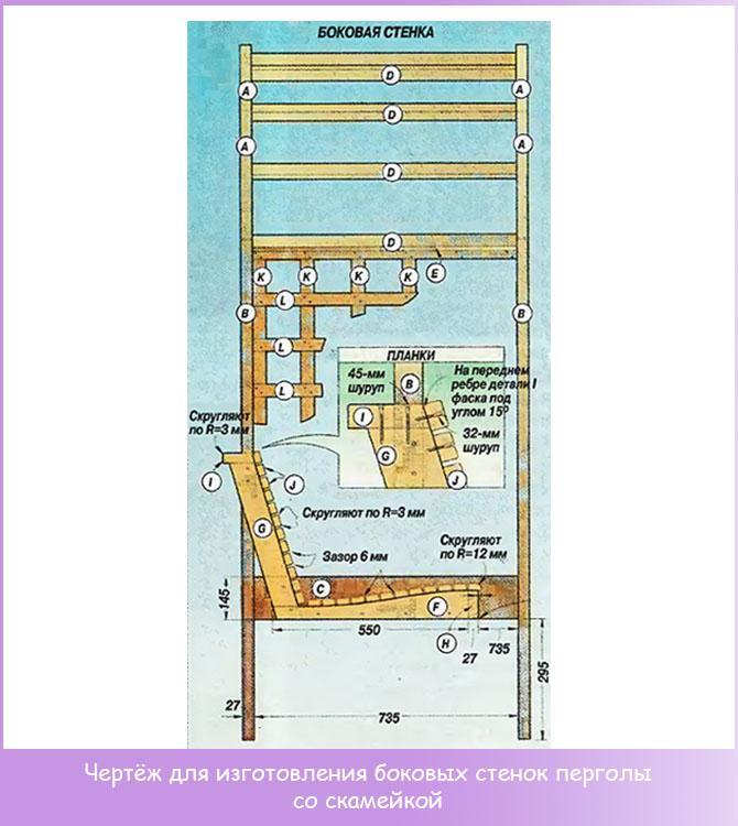 Изготовление боковых стенок-решёток в перголе-беседке